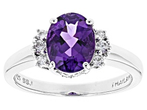 Purple Uruguayan Amethyst Sterling Silver Ring 1.44ctw