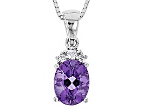Purple Uruguayan Amethyst Silver Pendant With Chain 1.35ctw