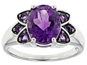 Purple Amethyst Sterling Silver Ring 2.11ctw