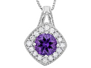 Purple Uruguayan Amethyst Sterling Silver Pendant With Chain 2.50ctw