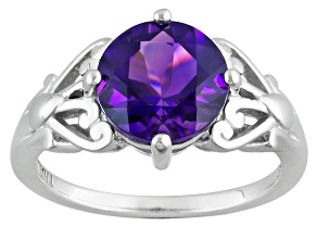 Purple Uruguayan Amethyst Sterling Silver Ring 1.70ct