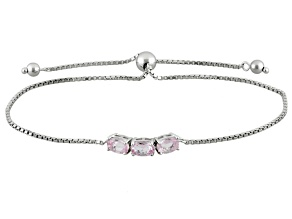 Pink Topaz Sterling Silver 3-Stone Sliding Adjustable Bracelet. 1.27ctw