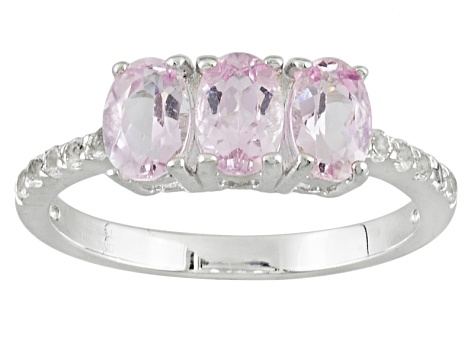 Pink Topaz Sterling Silver 3-Stone Ring 1.46ctw