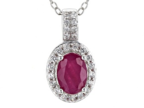 Red Ruby Sterling Silver Pendant With Chain 1.03ctw