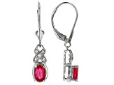 Red Ruby Sterling Silver Dangle Earrings .92ctw