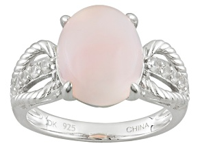 Pink Peruvian Opal Sterling Silver Ring .24ctw