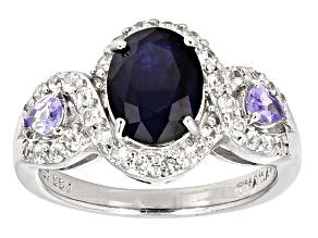 Blue Sapphire Sterling Silver Ring 2.59ctw