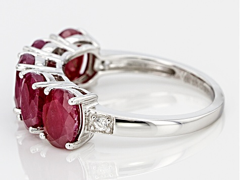 Red Ruby Sterling Silver Band Ring 6.14ctw