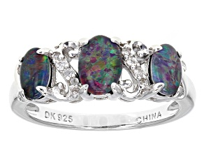 Multicolor Opal Triplet Sterling Silver Ring .10ctw