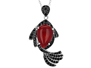 Red Coral Sterling Silver Pendant With Chain .69ctw