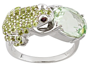 Green Prasiolite Rhodium Over Sterling Silver Frog Ring 2.59ctw