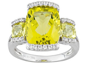 Canary Yellow Quartz Sterling Silver Ring 5.25ctw