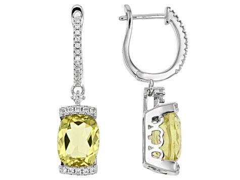 Canary Yellow Quartz Sterling Silver Dangle Earrings 7 13ctw