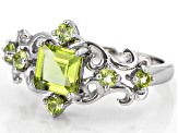 Green Peridot Rhodium Over Sterling Silver Ring 1.43ctw