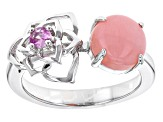 Pink Peruvian Opal Sterling Silver Ring .13ctw