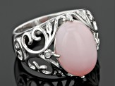 Pink Peruvian Opal Sterling Silver Ring .02ctw
