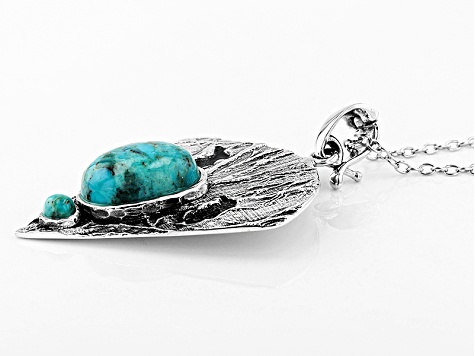 Blue Turquoise Sterling Silver 2-Stone Enhancer With Chain