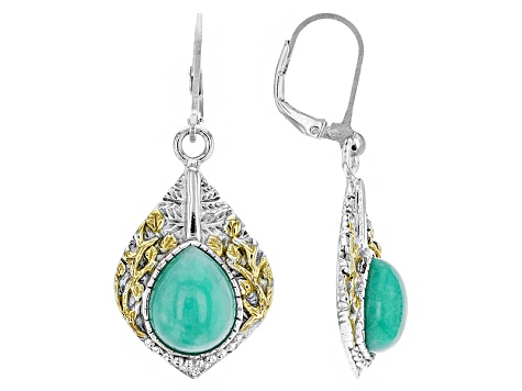 Green Chrysoprase crystal dangle earrings set in sterling silver