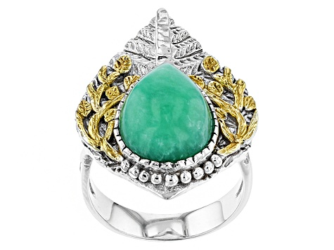 Green Chrysoprase Two-Tone Sterling Silver Ring
