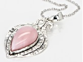Pink Peruvian Opal Sterling Silver Solitaire Enhancer With Chain