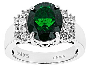 Green Chrome Diopside Sterling Silver Ring 3.99ctw