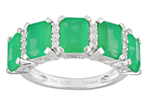 Green Onyx Sterling Silver Band Ring .23ctw