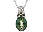 Green Labradorite Sterling Silver Pendant With Chain 2.07ctw