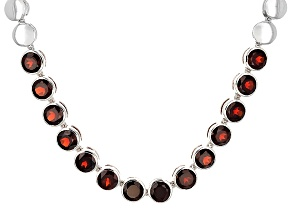 Red Garnet Sterling Silver Necklace 11.90ctw