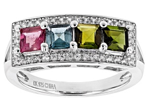 Multi-Tourmaline Sterling Silver Ring 1.54ctw