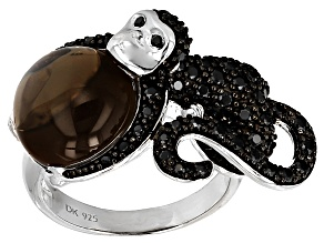 Brown Smoky Quartz Sterling Silver Monkey Ring 1.03ctw