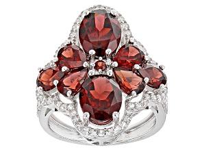 Red Garnet Sterling Silver Ring 6.86ctw