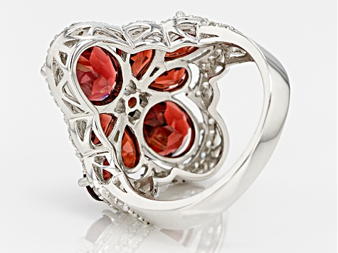 Red Garnet Sterling Silver Ring 6.86ctw