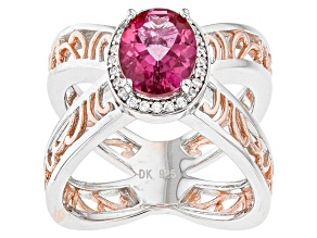 Pink Danburite Rose Two-Tone Sterling Silver Ring 1.66ctw