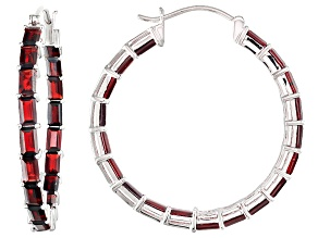 Red Garnet Sterling Silver Hoop Earrings 11.39ctw