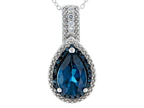 London Blue Topaz Sterling Silver Pendant With Chain 3.79ctw