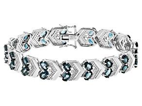 London Blue Topaz Sterling Silver Bracelet 21.71ctw