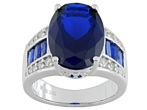 Blue Lab Created Spinel Rhodium Over Sterling Silver Ring 6.50ctw