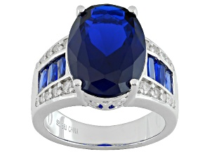 Blue Lab Created Spinel Sterling Silver Ring 6.50ctw