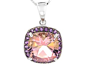 Bi-Color Ametrine Sterling Silver Pendant With Chain 5.67ctw