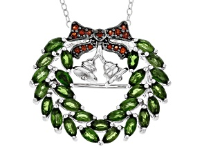 Green Chrome Diopside Silver Wreath Pendant/Brooch With Chain 2.49ctw