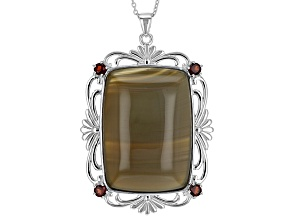Red Brazilian Agate Sterling Silver Pendant With Chain .85ctw