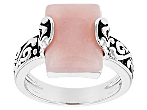 Pink Peruvian Opal Rhodium Over Sterling Silver Solitaire Ring