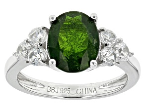 Green Russian Chrome Diopside Sterling Silver Ring 3.57ctw