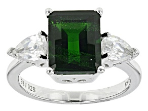 Green Russian Chrome Diopside Sterling Silver Ring 4.83ctw