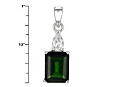 Green Russian Chrome Diopside Sterling Silver Pendant With Chain 4.13ctw