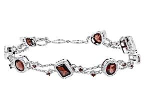 Red Garnet Sterling Silver Toggle Bracelet