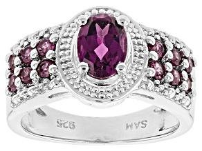 Purple Rhodolite Sterling Silver Ring 1.48ctw