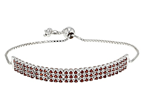 Red Garnet Sterling Silver Sliding Adjustable Bracelet 3.44ctw