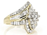 Diamond 2.00ctw Round & Baguette 10k Yellow Gold Cluster Ring