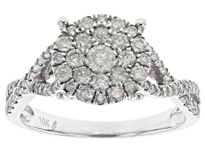 Diamond .90ctw Round 10k White Gold Cluster Ring